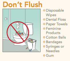 Don't flush: Disposable Wipes, Dental Floss, Paper Towels, Feminine Products, Cotton Balls, Bandages, Syringes or Needles, Gum