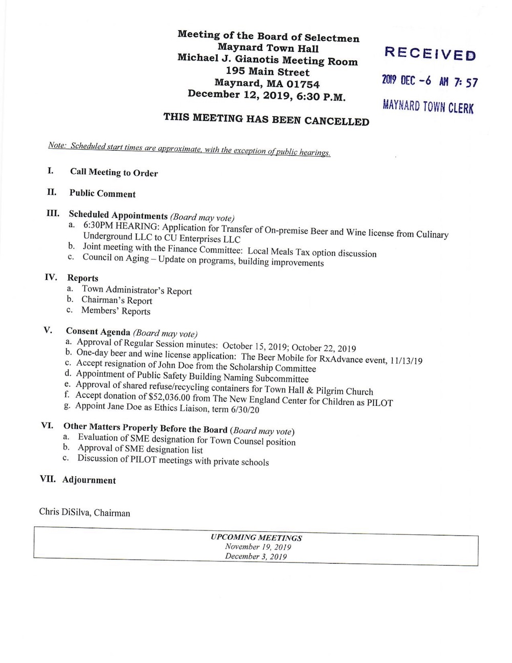 Open Meeting Law Guidelines Notice Of Meetings And Room Reservation Town Of Maynard Massachusetts Resident council meeting minutes template